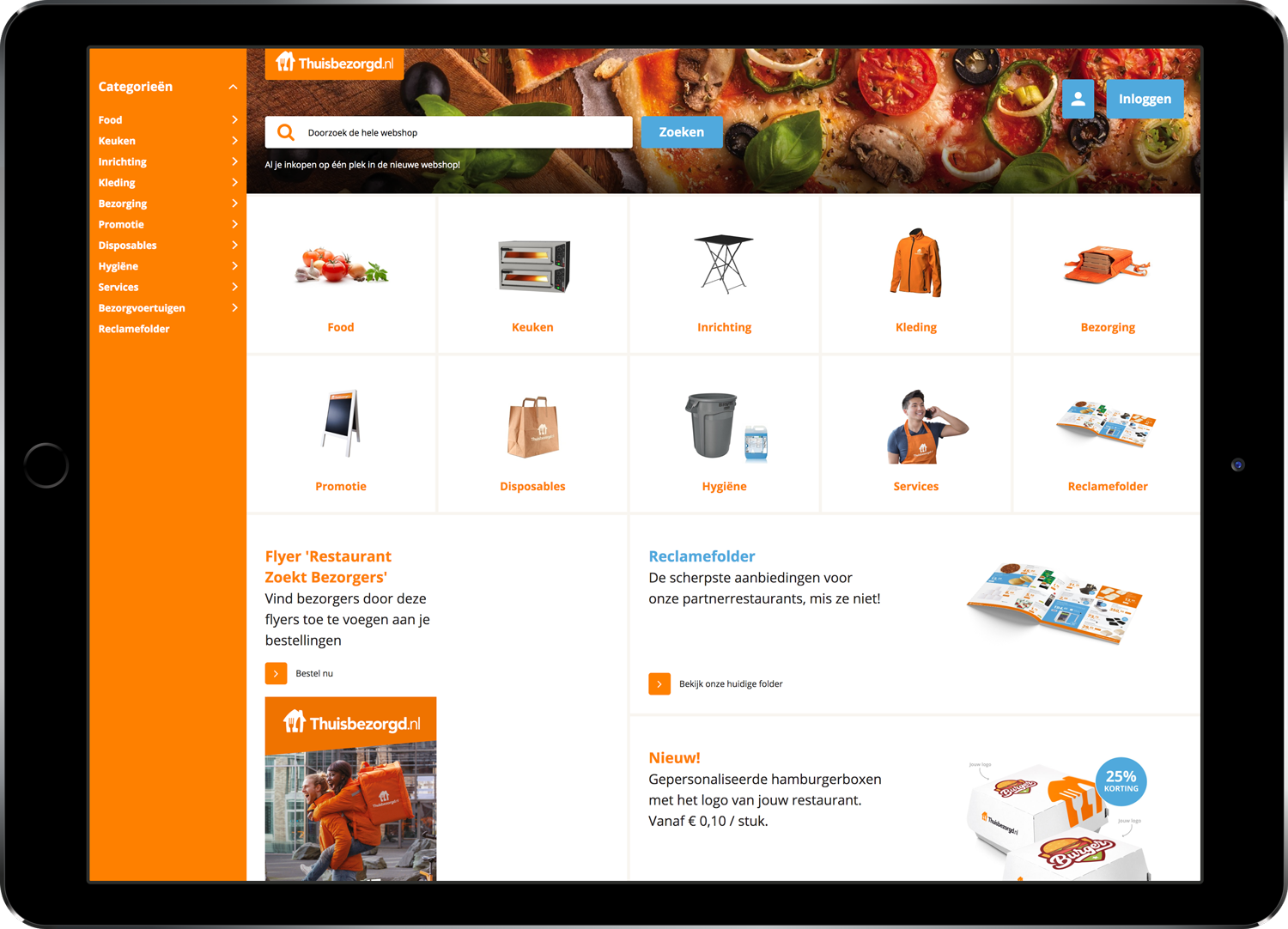 Takeaway.com vendors shop homepage